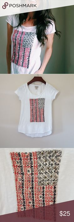 Lucky Brand   American flag top   S In excellent condition! Beautiful detailed top, size small. Adorable detailed flag. Used item: pictures show any signs of wear. Bundle up! Offers always welcome:) Lucky Brand Tops