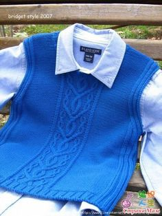 Vest for the boy knitting. Knitting For Kids, Baby Knitting, Knitting Designs, Knitting Patterns, Baby Vest, Baby Sweaters, Knit Crochet, Kids Outfits, Boys