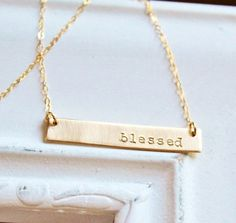 Gold Name Plate Necklace, Gold Bar Necklace, Personalized Necklace, Hand Stamped Gold Necklace, Blessed, Custom Necklace on Etsy, $42.00