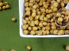 garlic parmesan roasted chicpea snack | 2 cans (15.5oz each) garbanzo beans, rinsed and drained; 1/2c. parmesan cheese, grated; 1tsp minced garlic or more if you like; 1 tbsp extra virgin olive oil; 1/2 tsp salt; pepper to taste ... directions: drain the beans and rinse them well. lay them on paper towels to dry for about 30 minutes. preheat oven to 400. in a bowl, mix together oil, garlic, salt and cheese until crumbly and oil is absorbed. add beans to bowl mixture and toss to coat. lay…
