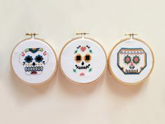 Mexican Skull Team Embroidery Cross Stitch Sugar by LanasCrespo, $45.00
