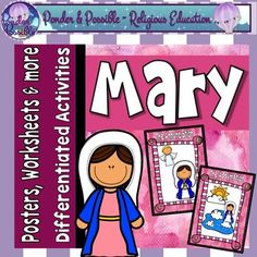 Have your students become familiar with Mary, the Mother of Jesus, with these posters, worksheets and activities. Designed to focus on key events from the Bible, this resource is a creative and engaging way for your students to get to know Mary. Key Events:-Mary  Mother of our Church-Annunciation-Visitation-Mary, Mother of God-Mary finds Jesus  preaching in the temple-Water into Wine  Mary witnesses Jesus first miracle-Mary is there for Jesus  Jesus dies on the cross-AssumptionResource…