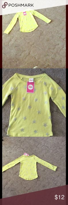Yellow shirt with stars Yellow long sleeve shirt with silver stars all over. New never worn. Circo Shirts & Tops Tees - Long Sleeve