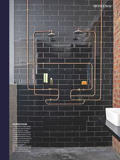Copper piping plus black tile, slick!