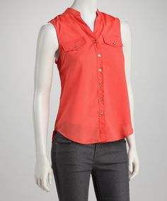 Take a look at this Orange Military Sleeveless Button-Up by Simply Irresistible on #zulily today!
