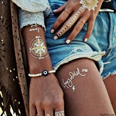 Metallic Temporary Tattoo| Shop white Wanderlust | Flash Tattoos