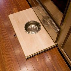 This Now Hope, PA Country kitchen features a custom pull-out dog dish from base cabinet toe kick. Cool Kitchen Appliances, Custom Kitchen Cabinets, Base Cabinets, Cool Kitchens, Kitchen Stuff, Kitchen Ideas, Cabinet Toe Kick, Igloo Dog House, Outdoor Dog Runs