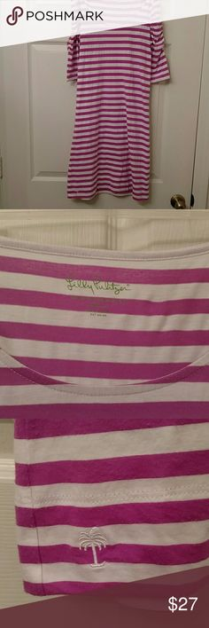 Lilly Pulitzer t-shirt dress Very cute little t-shirt dress. Has the faded look but way it was made. Purple and white stripes with rouched arms. 50% cotton 50% polyester. Very light weight and so cute. Measured from armpit down length is 26 inches. Across the shoulders it is 13 inches. Across chest is 15 inches. dress has a little piling but hardly noticeable Lilly Pulitzer Dresses Mini