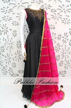PalkhiFashion Exclusive Full Flair Black Satin Silk Outfit with contrasting Pink Dupatta