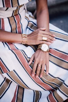 ASOS Off the shoulder stripe sundress   CHLOE Gala small bucket bag   ANCIENT GREEK Chrysso beaded leather sandals   EXPRESS sunglasses   NIALAYA bracelets  #details