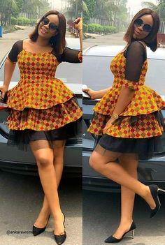 Newest Short Ankara Gown 2019 - Reny styles Short African Dresses, Ankara Short Gown Styles, Latest African Fashion Dresses, African Print Fashion, Africa Fashion, Short Dresses, Ankara Mode, Ankara Stil, Shweshwe Dresses