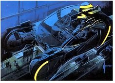 "Syd Meade  - ""Blade Runner"" spinner vehicles artwork"