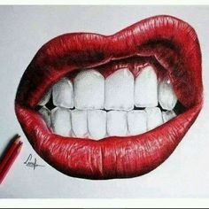 Delineate Your Lips Not mine- awesome drawing of lips - How to draw lips correctly? The first thing to keep in mind is the shape of your lips: if they are thin or thick and if you have the M (or heart) pronounced or barely suggested. Cool Drawings, Pencil Drawings, Flower Drawings, Benfica Wallpaper, Dental Art, Lip Art, Art Inspo, Amazing Art, Art Reference