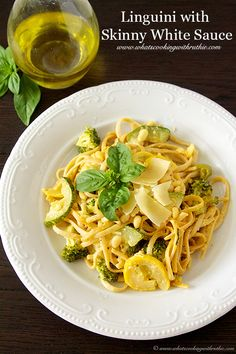 Linguini with Skinny White Sauce is loaded with veggies; simple to make! by www.whatscookingwithruthie.com #recipes #pasta #vegetarian