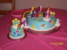 Care Bears - Care Bears themed cake (along with smaller smash cake) made for my niece's 1st birthday.  Cake was chocolate with whipped cream icing.