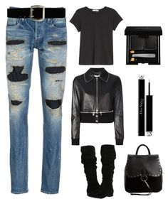 """""""Black never gets old"""" by im-karla-with-a-k on Polyvore featuring Denham, Steve Madden, Givenchy, rag & bone/JEAN, Express, Christian Dior and Rebecca Minkoff"""