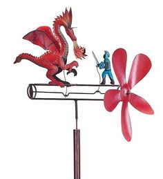 """Our St. George The Dragonslayer Whirligig is based on ancient legend. The dragon of Silene was fed a child daily (chosen by lottery) so it would not destroy the town. St. George, a Christian, offered to slay the dragon if the townspeople would agree to be baptized as Christians. They agreed, so he drew his mighty sword """"Ascalon,"""" and killed the dragon. St. George is the patron saint of England, and in his honor, Winston Churchill named his plane Ascalon."""