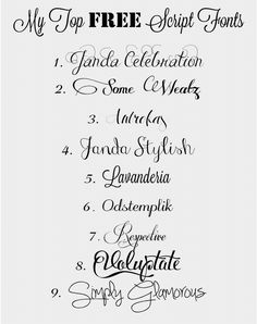 "Following up from Tuesday's post about making my own ""fake-calligraphy"" to use for addressing envelopes, here's my list (with links, below) for my favorite free script fonts! 1.// Janda Celebration..."