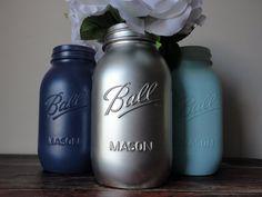 Navy Blue, Aqua, and Silver Mason Jar Set-Quart Sized-Wedding Centerpiece,Mason Jar Set, Event Decor, Wedding Decor, Home Decor