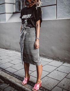 Wrap skirt, band tee, pink mules