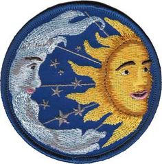 SIMPLICITY Moon Face Shooting Star Patch Iron on Sew On  Celestial Applique Art
