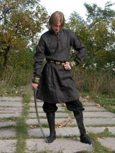Gray Medieval Noble Warrior Tunic for Men