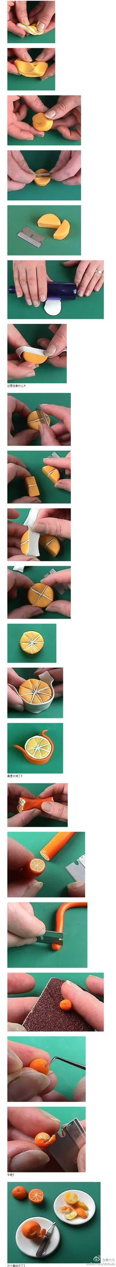 how to make mini oranges with orange peels from polymer clay