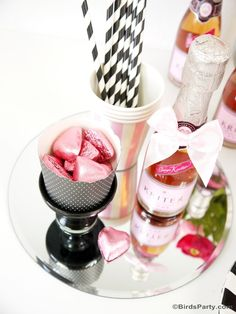 Kate Spade inspired pink and  black Valentine's Day party - perfect for celebrating with your girlfriends - BirdsParty.com