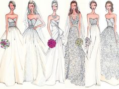 Image courtesy of Illustrative Moments Wedding Dress Illustrations, Wedding Dress Sketches, Gown Drawing, Fashion Design Sketches, Sketch Design, Clothing Sketches, Fashion Painting, Fashion Art, Fashion Figures
