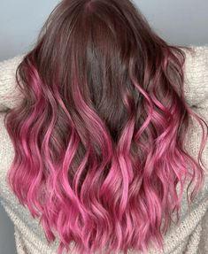 Pink Hair Streaks, Pink Hair Highlights, Pink Ombre Hair, Hot Pink Hair, Brown Hair Purple Tips, Dyed Hair Pink, Colorful Highlights In Brown Hair, Blue And Pink Hair, Color Highlights