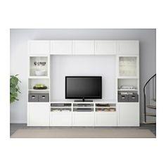 BESTÅ TV storage combination/glass doors - Hanviken/Sindvik white clear glass, drawer runner, soft-closing - IKEA