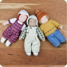 """9"""" Waldorf Boy Dolls with removeable outfits hand-made exclusively for Palumba - choose your color!"""