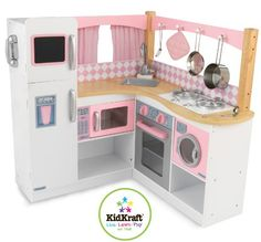 This is one of the cutest play kitchens I've ever seen! This Grand Gourmet Corner Kitchen by KidKraft is perfect! Play Kitchens, Kids Play Kitchen, Toy Kitchen, Kitchen Playsets, Wooden Kitchen, Vintage Kitchen, Pretend Kitchen, Real Kitchen, Kitchen Corner