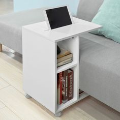 SoBuy Modern Side Table End Table Coffee Table on Wheels with 2 Storage Shelves Living Room Furniture Multifunctional Furniture Small Spaces, Furniture For Small Spaces, Table Furniture, Living Room Furniture, Home Furniture, Dream Furniture, Office Table Design, Office Designs, Coffee Table With Wheels