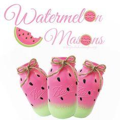 Watermelon mason jars, painted mason jars, large mason jars, summer decor…
