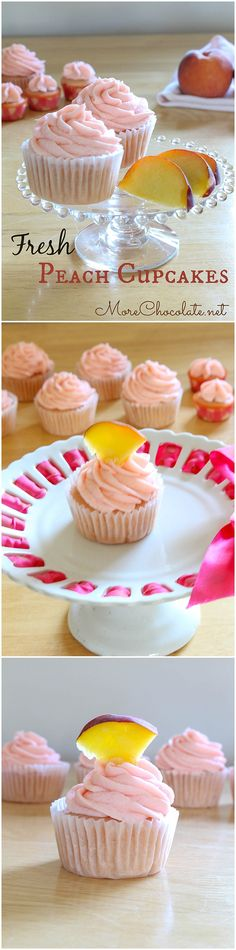 Fresh Peach Cupcakes just in time for National Peach Month! Delicious, easy and adorable!