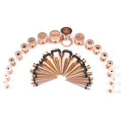 Tapers And Plugs, Ear Tapers, Gold Body Jewellery, Body Jewelry, Gages For Ears, Kit Rose, Ear Stretching, Mini Tattoos
