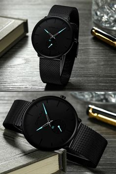 Finiera Minimalist Black Steel Watch - Men's style Elegant Watches, Stylish Watches, Beautiful Watches, Luxury Watches, Cool Watches, Wrist Watches, Men's Watches, Fashion Watches, Ladies Watches