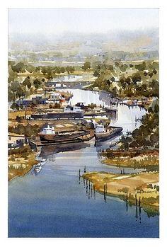 Coden Shipworks No.2 by Iain Stewart  ~ 16.75 x 11