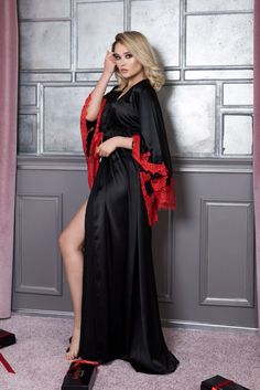 Boudoir Robe/Plus Size Long Robe/Burlesque Robe/Gothic Robe/Long Silk Robe/Long Nightgown/Silk Satin Robe/Floor Length Robe/Big Size Robe Sexy Lingerie, Plus Size Lingerie, Burlesque, Jet Black Color, Red Black, Red Colour, Satin Dressing Gown, Pyjama Satin, Boudoir