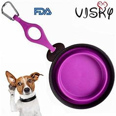 Visky  Pet Travel Bowl Dog WaterFood TPE Material CollapsiblePortable Bowls Purple >>> To view further for this item, visit the image link.