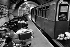 Londoners sleeping in the underground during the German bombing raids of 1941