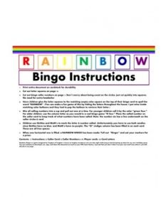 Rainbow Bingo - free printable. Great party game for kids.
