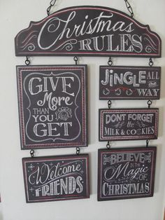 CHALK TALK CHRISTMAS RULES BELIEVE IN THE MAGIC FRIENDS CHIC N SHABBY SIGN