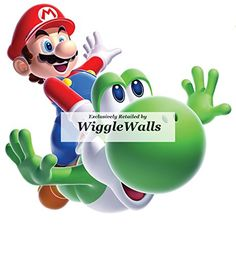 6 Green Flying Yoshi Yossy Super Mario Bros Galaxy 2 Wii Removable Wall Decal Sticker Art Nintendo Brothers Home Kids Room Decor  6 by 6 inches >>> To view further for this item, visit the image link.