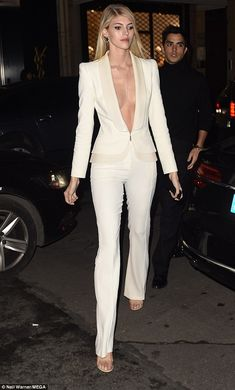 Wow-factor: Devon Windsor looked sensational as she stepped out in a chic off-white suit f... #models