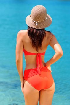 Santorini halter top with full-coverage bottoms in 'Flame', by Finch Swim