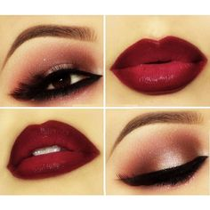 Valentine's Day Makeup Inspiration ❤ liked on Polyvore featuring beauty products, makeup, eyes, lip, beauty, valentines day makeup and lips makeup