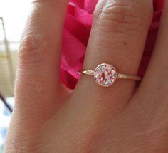 0.56 J SI1 Transitional Cut Estate diamond from GOG set in 14K Pink Gold bezel by Etsy seller One Garnet Girl