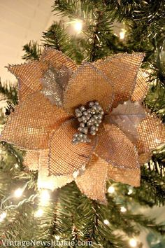 How to Make a Burlap Flower Christmas Ornament *Video Tutorial* - I am smitten over burlap decor this Christmas... so when I saw the big beautiful flowers at th…